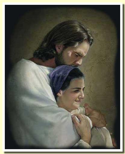 Jesus abrazo mujer