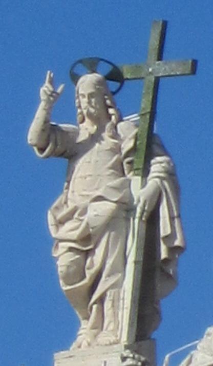 Vaticano.Basílica de San Pedro.Fachada.Estatua de Jesucristo.20110909