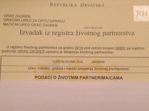Acta De Matrimonio Simbolico : Cristianos gays croacia