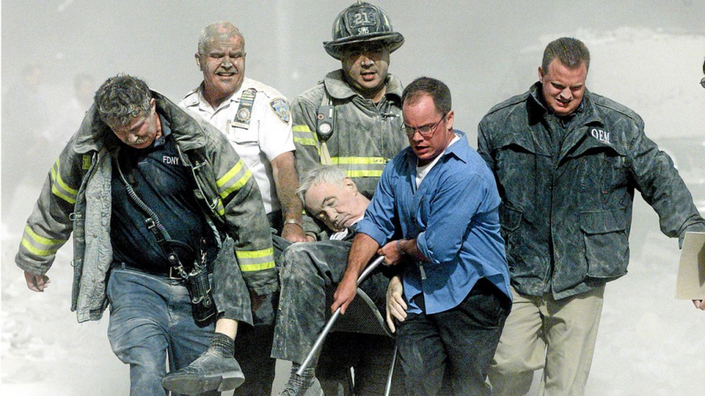REV. MYCHAL JUDGE REMOVED FROM WRECKAGE/NYC
