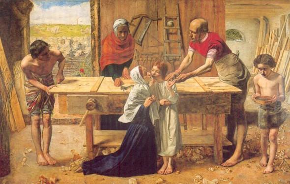 JESÚS ADOLESCENTE EN EL TALLER DE JOSÉ.-John Everett Millais