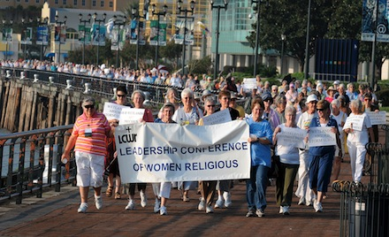 LCWR MEMBERS MARCH THROUGH PARK IN NEW ORLEANS