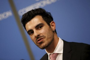 Gay Syrian refugee Subhi Nahas speaks at a news conference at the United Nations headquarters in New York, August 24, 2015. Earlier Nahas and other gay rights activists addressed the United Nations Security Council during an informal meeting on the persecution of LGBT people by Islamic State militants in Syria and Iraq.  REUTERS/Mike Segar