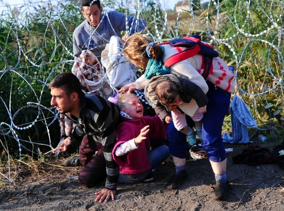 "TOPSHOTS A young migrant's hair becomes stuck while crawling under a barbed fence with her family at the Hungarian-Serbian border near Roszke, on August 27, 2015. As Europe struggles with its worst migrant crisis since World War II, Hungary has become, like Italy and Greece, a ""frontline"" state. So far this year, police say around 141,500 migrants have been intercepted crossing into Hungary, mostly from neighbouring Serbia. AFP PHOTO / ATTILA KISBENEDEK"