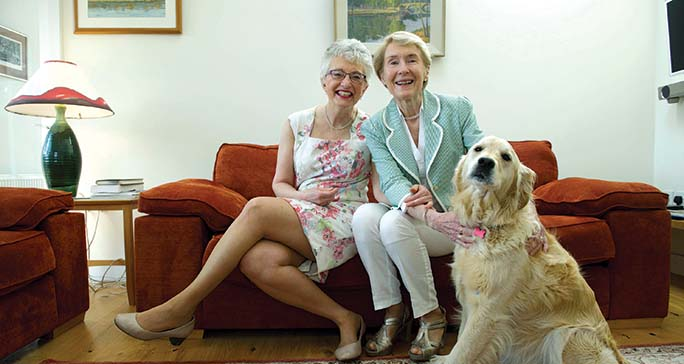 Picture: Maura Hickey. 12.05.15 LtoR: Katherine Zappone and Ann Louise Gilligan with their dog August.