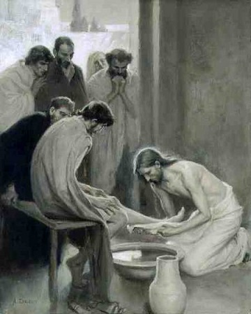 SNM128510 Jesus Washing the Feet of his Disciples, 1898 (oil and grisaille on paper) by Edelfelt, Albert Gustaf Aristides (1854-1905) chalk and grisaille on paper 58x47 © Nationalmuseum, Stockholm, Sweden Finnish, out of copyright