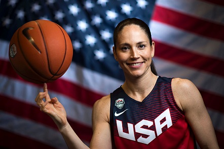 Basketball player Sue Bird poses for a portrait at the 2016 Team USA Media Summit, March 9, 2016 in Beverly Hills, California. The 2016 Summer Olympics will be held in Rio de Janeiro, Brazil August 5-21. / AFP / VALERIE MACON / RESTRICTED TO EDITORIAL USE (Photo credit should read VALERIE MACON/AFP/Getty Images)