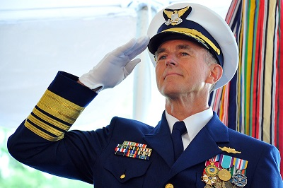 Adm. Paul Zukunft salutes during a change of command ceremony at Coast Guard Headquarters in Washington May 30, 2014. Zukunft relieved Adm. Bob Papp to become the 25th commandant of the Coast Guard. U.S. Coast Guard photo by Petty Officer 2nd Class Patrick Kelley.