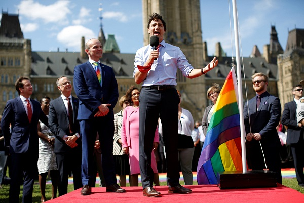 Canada's Prime Minister Justin Trudeau speaks during an event before raising a pride flag on Parliament Hill in Ottawa, Ontario, Canada, June 1, 2016. REUTERS/Chris Wattie