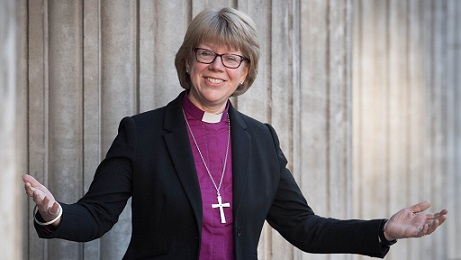 The new Bishop of London, the Right Reverend Sarah Elisabeth Mullally, after a press conference at St Paul's Cathedral in London. PRESS ASSOCIATION Photo. Picture date: Monday December 18, 2017. See PA story RELIGION Bishop. Photo credit should read: Stefan Rousseau/PA Wire
