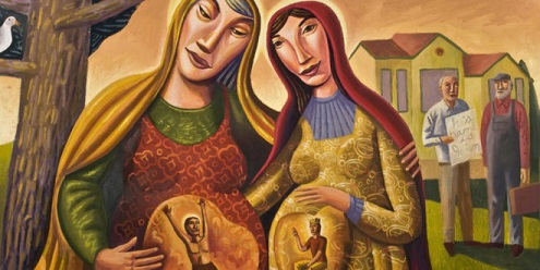 "James B. Janknegt, ""The Visitation,"" 2008. Oil on canvas, 36 x 24 in. Source: http://www.bcartfarm.com/visitation.html"