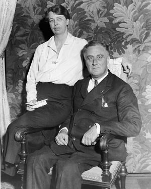 27th February 1933: Portrait of United States President-elect Franklin Delano Roosevelt (1882-1945) with his wife Eleanor Roosevelt (1884-1962) shortly before he took office, Hyde Park, New York. (Photo by New York Times Co./Getty Images)