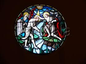 Vitral de San Juan Bautista en la Iglesia de San Cipriano de Muskildi (Zuberoa)
