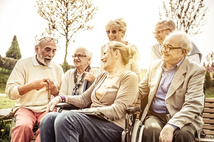 Seniors spending time at the park