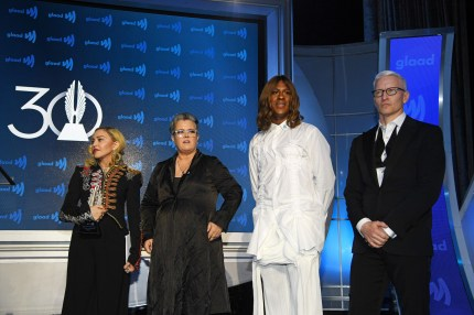NEW YORK, NEW YORK - MAY 04: (L-R) Madonna, Rosie O'Donnell, Mykki Blanco and Anderson Cooper speak onstage during the 30th Annual GLAAD Media Awards New York at New York Hilton Midtown on May 04, 2019 in New York City. (Photo by Dimitrios Kambouris/Getty Images for GLAAD)