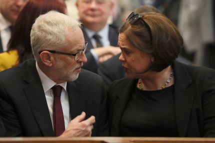 Britain's opposition Labour party leader Jeremy Corbyn (L) and Irish Republican Sinn Fein party leader Mary Lou McDonald attend the funeral service of journalist Lyra McKee (29), who was killed by a dissident republican paramilitary in Northern Ireland on April 18, at St Anne's Cathedral in Belfast on April 24, 2019. - Lyra McKee, 29, who chronicled the troubled history of Northern Ireland, was shot in the head on April 18, 2019, as rioters clashed with police in Londonderry, the second city of the British province. (Photo by Brian Lawless / POOL / AFP) (Photo credit should read BRIAN LAWLESS/AFP/Getty Images)