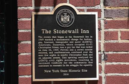 A sign at 'The Stonewall Inn', a Gay bar, National Historic Landmark and site of the 1969 riots that launched the gay rights movement is seen on June 4, 2019 in New York City. - Pride Month 2019 marks The Stonewall 50th Anniversary. (Photo by Angela Weiss / AFP) (Photo credit should read ANGELA WEISS/AFP/Getty Images)