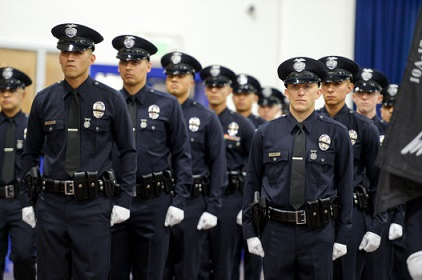 LAPD Recruits take part in graduation ceremonies Friday at the LAPD Academy in Los Angeles. ( Photo by David Crane, Los Angeles Daily News/SCNG)