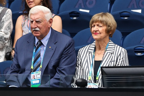 MELBOURNE, AUSTRALIA - JANUARY 20: Barrymore Court and his wife Margaret Court watch the Women's Singles first round match between Naomi Osaka of Japan and Marie Bouzkova of Czech Republic on day one of the 2020 Australian Open at Melbourne Park on January 20, 2020 in Melbourne, Australia. (Photo by Mark Kolbe/Getty Images)