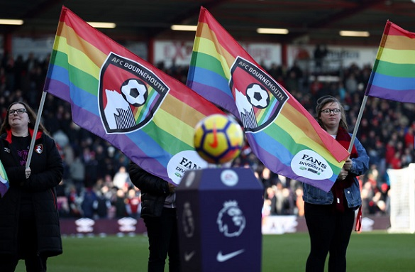 BOURNEMOUTH, ENGLAND - FEBRUARY 24: Rainbow flags are held up before the Premier League match between AFC Bournemouth and Newcastle United at Vitality Stadium on February 24, 2018 in Bournemouth, England. (Photo by Catherine Ivill/Getty Images)