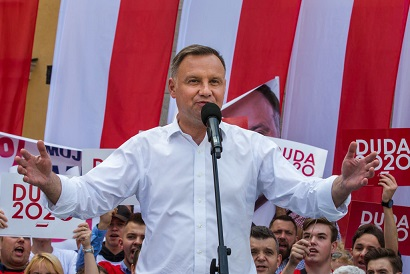 BOLESLAWIEC, POLAND - 2020/07/03: President of the Republic of Poland Andrzej Duda speaks to his supporters during the campaign after the first round of presidential elections. Current president of Poland and presidential candidate in elections Andrzej Duda won the first round of elections with 43.67 percent of support. In the second round, Duda will face Rafal Trzaskowski who gained 30.34 percent support. The second round of presidential election in Poland is scheduled for July 12. (Photo by Karol Serewis/SOPA Images/LightRocket via Getty Images)