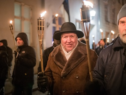 Picture taken on February 24, 2019 shows Mart Helme, chairman of the of the far-right Estonian ERKE Party, participating in the demonstration of the 101st anniversary of the Republic of Estonia in Tallinn. - Estonia's centre-left coalition is fighting for survival in a general election on March 3, 2019, challenged by both the liberal opposition and the rise of a far-right party amid a backlash against liberal economic and social policies in the small Baltic eurozone state. (Photo by Sven TUPITS / AFP) (Photo credit should read SVEN TUPITS/AFP via Getty Images)