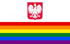 LGBT_Pride_Flag_of_Poland_with_coat_of_arms-300x188
