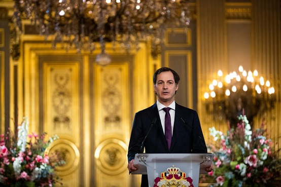 BRUSSELS, BELGIUM - JANUARY 28: Prime Minister of Belgium Alexander De Croo addresses the Authorities of the Country during a digital New Year's greetings ceremony on January 28, 2021 in Brussels, Belgium. De Croo delivers his speech this year in the Throne Room without an audience to prevent transmission of Covid-19. (Photo by Royal Belgium Pool/Getty Images)