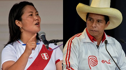 (COMBO) This combination of pictures created on June 03, 2021 shows a file photo taken on May 01, 2021 of Peruvian presidential candidate, right-wing Keiko Fujimori (L), speaking during a debate with leftist Pedro Castillo (out of frame) in Chota, Cajamarca, northern Peru, ahead of the June 6 presidential runoff election, which threatens to polarize the country and a file photo taken on May 30, 2021 of Peruvian presidential candidate, socialist Pedro Castillo, during the last debate with his opponent, right-wing candidate Keiko Fujimori, ahead of the June 6 run-off election, in Arequipa, Peru. - Peru votes on June 6, 2021 in its fifth presidential election in three years after an unprecedented series of crises and corruption scandals that saw three different leaders in a single week. (Photos by Cesar Bazan and Martin Mejia / various sources / AFP)